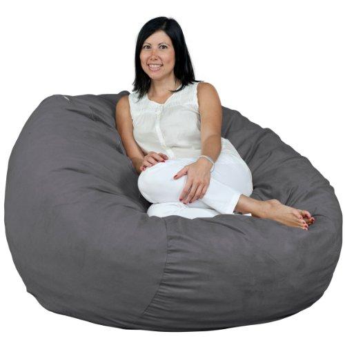 FUGU Bean Bag Chair, Premium Foam Filled 4 XL, Protective Liner Plus Removable Machine Wash Grey...