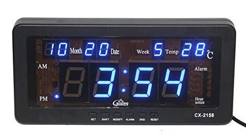Renqian Elektronische led-wekker met datum, temperatuur en tafelklok per week bureauklok LED wandklok digitaal voor woonkamer Rosa Roja