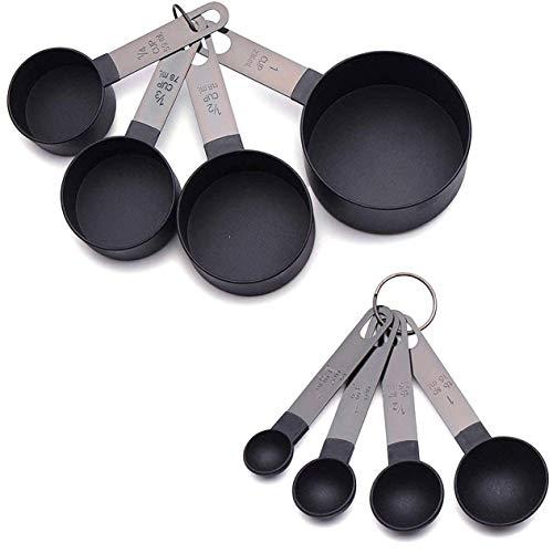 8 pièces cuillère à mesurer en acier inoxydable cuisson thé café cuisine balance tasse à mesurer cuillères à mesurer ensemble-noir BCVBFGCXVB
