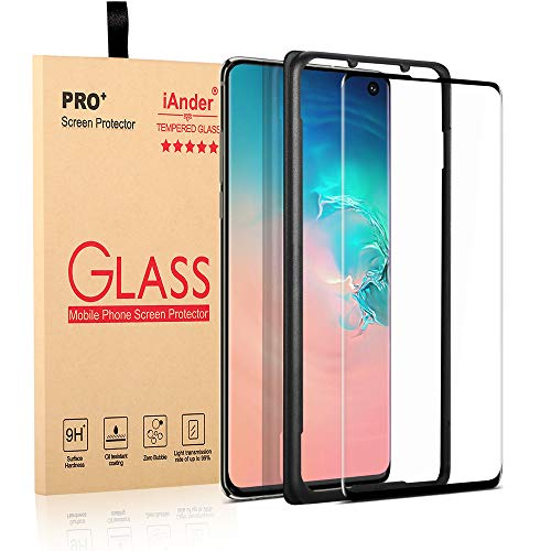 iAnder Galaxy S10 Glass Screen Protector [Easy Installation Tray], 3D Curved [Tempered Glass] Screen Protector [Support Ultrasonic Fingerprint Unlock] for Galaxy S10 [Case Friendly]