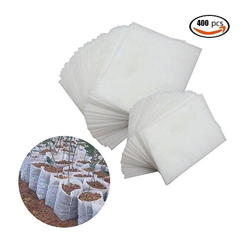 GoodFaith Sacs pour la culture des produits d'allaitement Pots, Sacs de culture pour plantes Sacs de pépinière non tissés biodégradables Pots de semis en tissu (400 pcs, blanc)