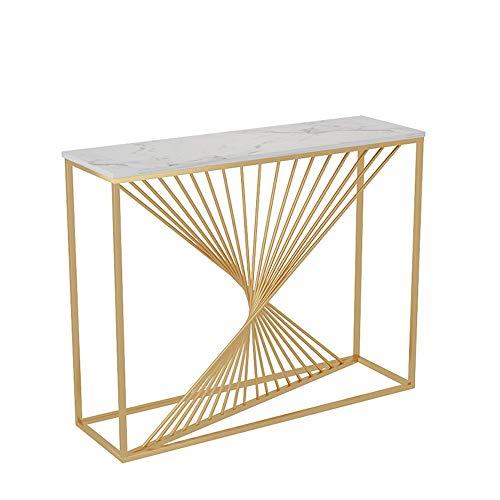 FUFU Mesas auxiliares Moderna consola de mesa, Mesa Pasillo con mármol de mesa Sofá Mesa lateral y muestra aparador contra la pared del vestíbulo de la sala de estar, pasillo, Estrecho 31 × 29.5 × 11.