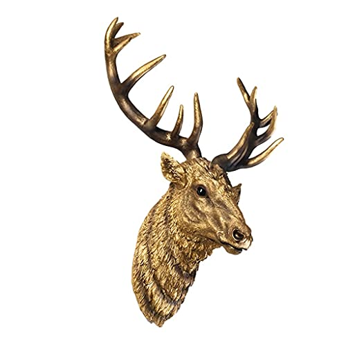 MNYHJDS Deer head Wall Decor, Simulation Deer Head, Wall-mounted Animal Sculpture, Resin Deer Head Suitable for Home Living Room Porch Decoration J (Color : GOLD, Size : 67 * 35 * 76CM)