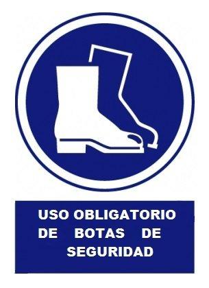 Cartel PVC Uso obligatorio de botas de seguridad 40x30 cm
