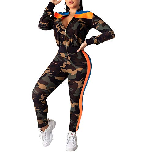 IyMoo Women 2 Piece Outfits Jumpsuits Camouflage Camouflage Zip Up Pullover Jacket and Shorts Set 2-Orange S