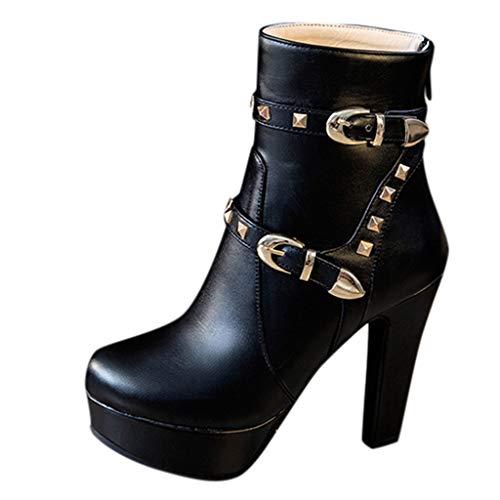 Sllowwa Stiefel Damen Stiefeletten Winterstiefel Stiefel mit rundem Kopf und dickem Absatz wasserdichte Plateau-Stiefel mit hohem Absatz(Schwarz,37 EU)