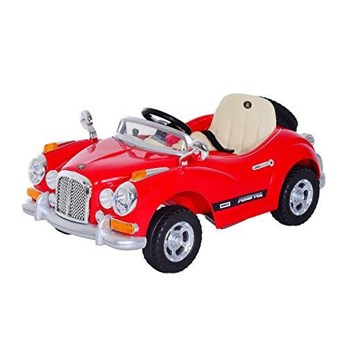 homcom Macchinina Elettrica per Bambini Modello retrò con MP3 126 × 67 × 55cm, Rosso