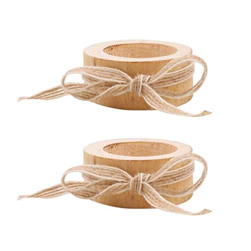 Holibanna - Portavelas de Madera con Cuerda de cáñamo y Adornos artesanales (2 Unidades)