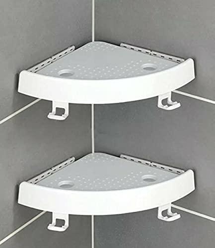 Estante de ducha esquinero sin perforaciones y sin pegamento | Jabonera para ducha con ventosa y ganchos porta esponjas, soporte para champú y ducha, pack de 2 estantes de pared