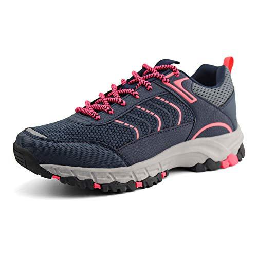 JABASIC Womens Hiking Shoes Lightweight Outdoor Trekking Knit Shoes (6,Navy/Pink)