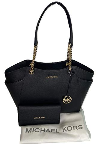 Bundle of 3 items: MICHAEL Michael Kors Jet Set Travel Large Chain Shoulder Tote bundled with Michael Kors Jet Set Travel Trifold Wallet and Michael Kors Dust Bag Double top handles with chain detail in silver, Three quarter zippered top closure with...