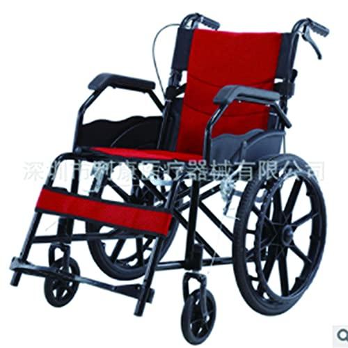 Silla de ruedas deportiva MMYNL, ruedas traseras de 20 pulgadas, marco plegable de aluminio ligero autopropulsado, diseño de andador compacto, portátil, cómodo y resistente, ruedas integradas-rojo ⭐