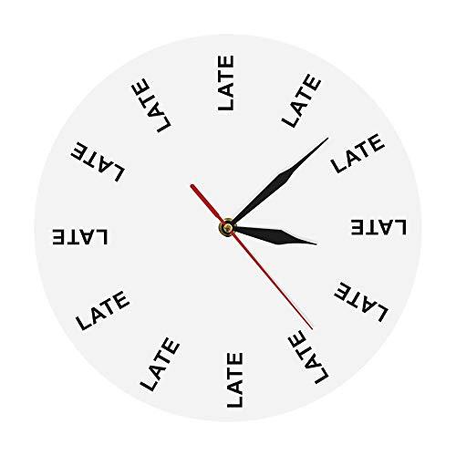 Reloj de cocina tarde reloj de pared infinitos momentos intemporales reloj de pared divertido oficina broma entretenimiento persona tardía recordar postergar hombre regalo