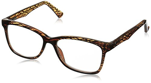 Foster Grant Women's Penelope Square Reading Glasses, Brown/Transparent, 54 mm + 1.25
