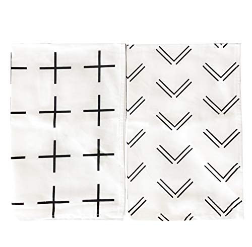 Black and White Scandinavian Tea Towel Set of 2 100% Cotton Hand Towel Modern Design