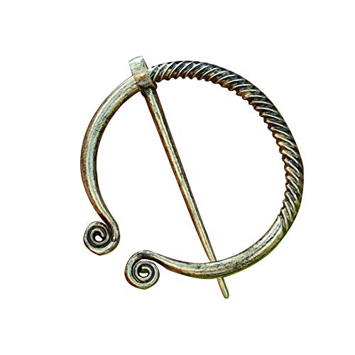 Penannular Brooch Pin for Women Viking Bow Harp Scarf Cloak Shawl Buckle Clasp Pin Brooch Lapel Girls Pirate Amulet Jewelry(Gold)