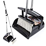 Broom and Dustpan Set with Lid Outdoor Or Indoor Dust Pan 3 Foot Long Stainless Cleans Broom Combo Upright Steel Handle Kids Lobby Pet Dog Hair Wood Floor Room Office Sweeping (Black)