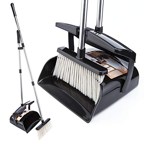 Broom and Dustpan Set with Lid Outdoor Or Indoor Dust Pan 3 Foot Cleans Broom...