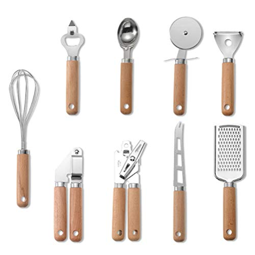 RUIYELE Kitchen Utensil Set,9Pcs Gadgets Cookware Kit Cooking Tools Gadgets with Wooden Handle,Can Opener/Grater/Pizza Wheel/Digging Spoon/Corkscrew/Cheese Cutter/Whisk/Gourd/Garlic Press