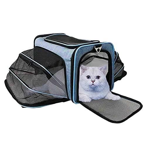ABISTAB Pet - Bolsa de transporte extensible, plegable, para mascotas con cómoda esterilla, cesta suave para gatos, cesta para perros, bolsa de transporte, adecuada para viajes en coche y avión.