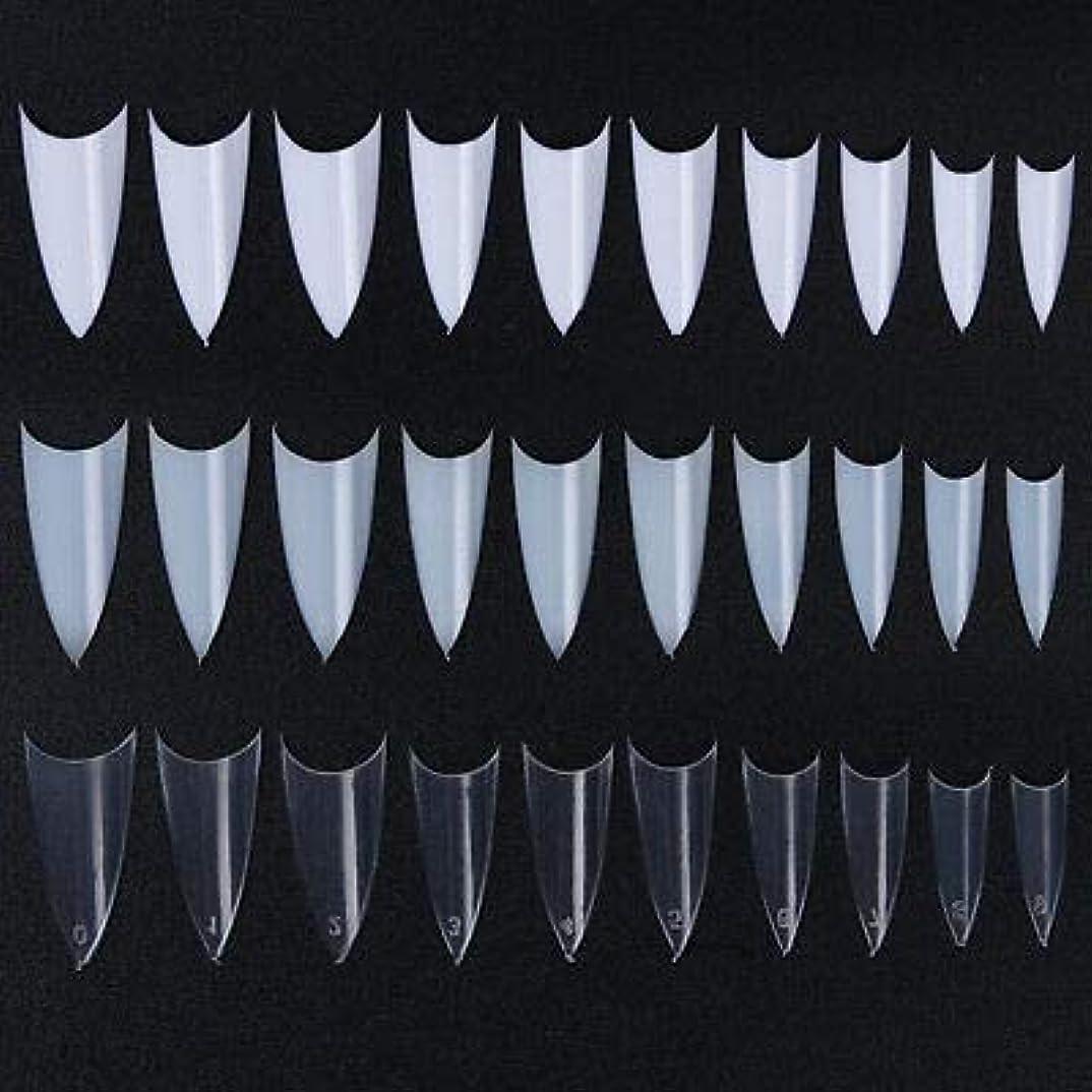 志す元気な文句を言うFidgetGear 500個のフレンチハーフネイルのヒントシャープポインテッド10サイズクリアホワイトナチュラルデザイン 3色