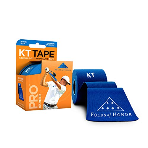 KT Tape Fita esportiva Pro Kinesiology, sem látex, resistente à água, fita terapêutica, escolha profissional, opções pré-cortadas e não cortadas, 1 rolo, edição Dobra de Honor, Azul Valente