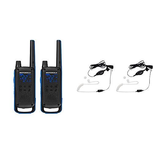 Motorola Talkabout T800 Two-Way Radios, 2 Pack, Black/Blue Bundle with Motorola 1518 Surveillance Headset with PTT Mic, Black, White