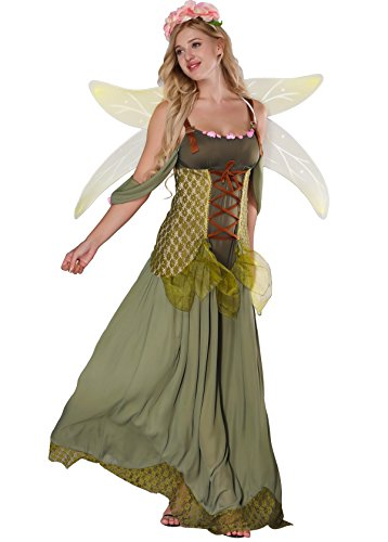 JJ-GOGO Fairy Costume Women - Forest Princess Costume Adult Halloween Fairy Tale Godmother Costumes (L) Green