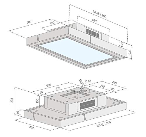 Silverline Light Box LBUD 100 S - Cubierta de techo (cristal, 100 cm), color negro: Amazon.es: Grandes electrodomésticos