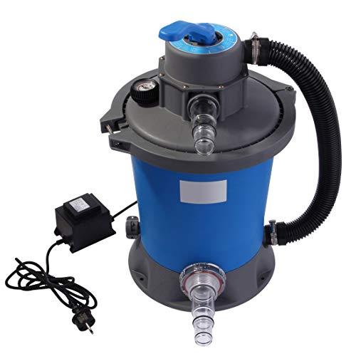 Blueborn Sand-Filteranlage SFP 3028 L/h Sandfilter Pool-Pumpe 3m³/h Schwimmbadpumpe + 6 Wege Ventil