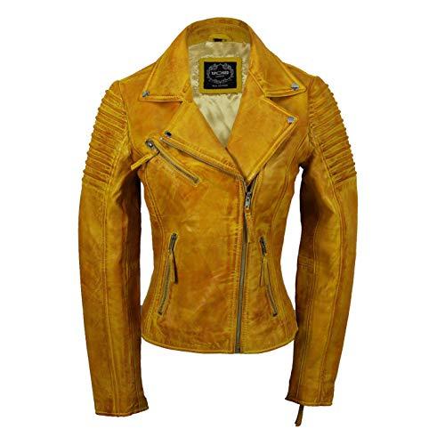 Xposed Chaqueta de motociclista para mujer, estilo vintage, ajustada, suave, de cuero auténtico, talla UK 6-24, color Amarillo, talla 5X-Large