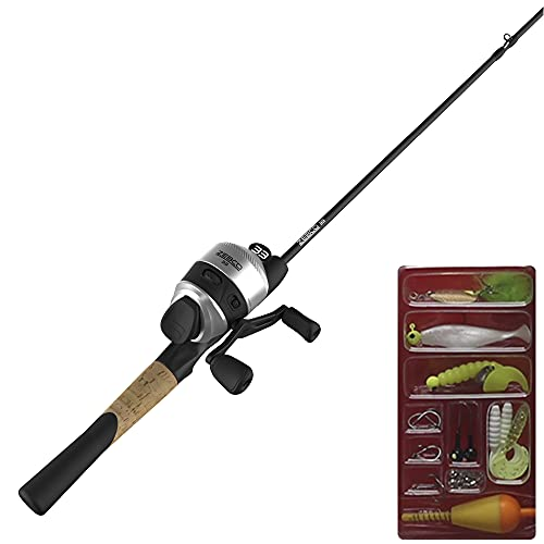 Zebco 33 Spincast Reel and 2-Piece Fishing Rod Package Combo, 5.5-Foot Durable Fiberglass Rod and QuickSet Anti-Reverse Fishing Reel with Bite Alert, Includes Bonus Tackle, Reel, or Rod