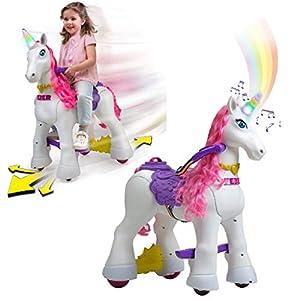 FEBER - My Lovely Unicorn con Melena Rosa, Mascota electrónica y vehículo de batería 12 V (Famosa 800011603)