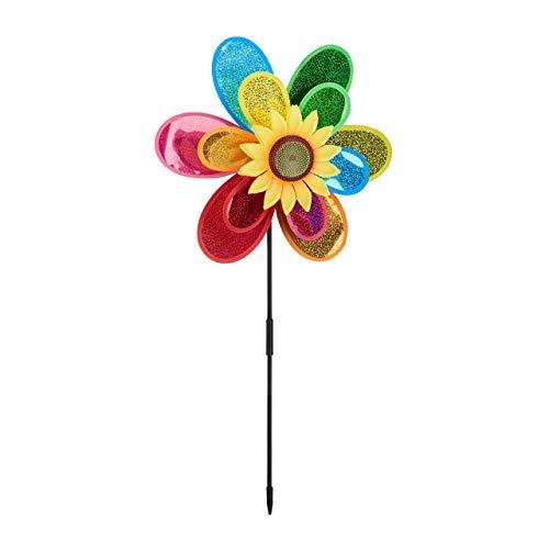 Relaxdays, bunt Windrad Blume, dekorativer Blumenstecker, Gartendeko für Balkon oder Terrasse, HBT 74,5 x 37,5 x 14 cm, 1 Stück