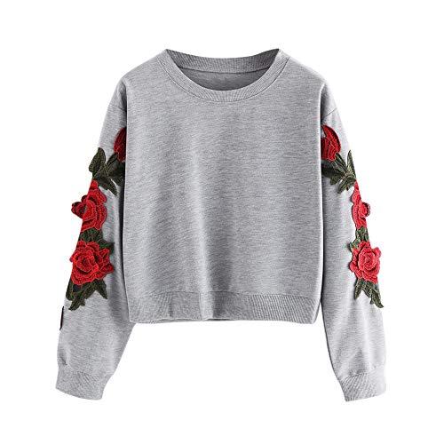 TWIFER 2020 Herbst Langarm Rose Stickerei Applique Sweatshirt Oansatz Pullover