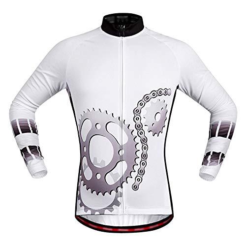 LOYFUN Radtrikot für Männer, Herren Radtrikot mit Langen Ärmeln Frauen-Mountainbike Hemd MTB Top Reißverschlusstaschen mit reflektierendem Streifen Leichte atmungsaktive Radfahren Top