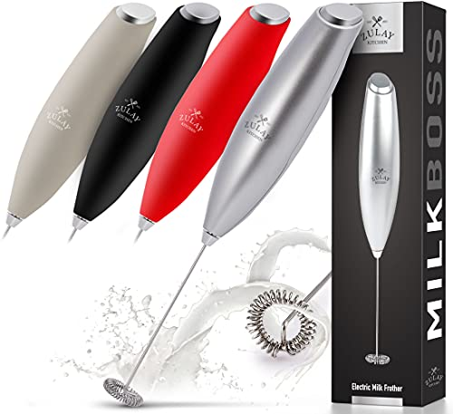 Zulay New Titanium Motor Milk Frother (Without Stand) - Handheld Frother Whisk, Milk Foamer Frother, Mini Blender and Electric Mixer for Coffee, Frappe, Latte, Matcha, Budget No Stand - Silver