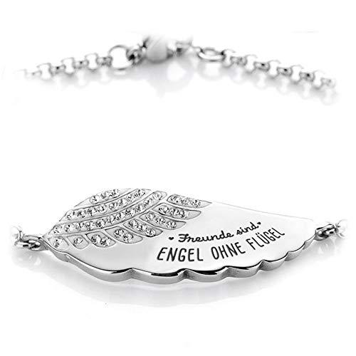 Himmelsflüsterer - Damen Armband mit Gravur und Familien- und Freunde-Spruch | Freundschaftsarmband | Silber - Freunde sind Engel ohne Flügel