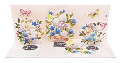 Bis mit Papier POP-UP panoramics Grußkarte–Mason Jar Blumensträuße