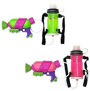 【2点セット】 スプラトゥーン2 タンク付きスプラシューター ネオングリーン & ネオンピンク 水鉄砲 水ピストル ウォーターガン