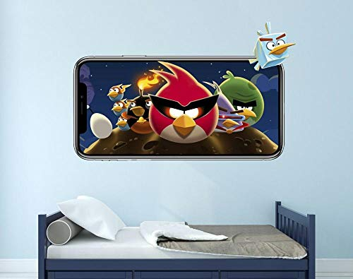QULIN Angry Birds Space Wall Decal 3D Sticker Decoración Mural Vinilo Niños Video