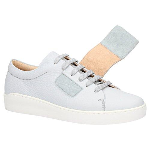 Zweigut® komood #335 Damen Leder Sneaker Sommer Schuhe Schnürer Klett leicht Pastell Freizeit, Schuhgröße:40, Farbe:blau