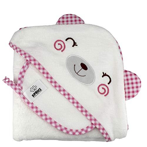 KPRICE - Accappatoio Neonato da bagno con cappuccio 90x90 - Asciugamani in flanella 100% bambù Organico - Ultra morbido assorbente - bambino - 1 asciugamano viso piccolo - Bambini (Orso Rosa)