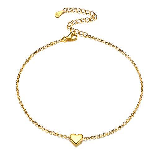 ChicSilver Corazón Oro Amarillo Real Pulsera de Tobillo Plata de Ley 925 Cadena Delgada Ajustable...