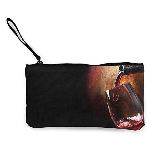 Monedero de lona de vino tinto, monedero con cremallera, monedero, bolsas de maquillaje para mujeres y niñas