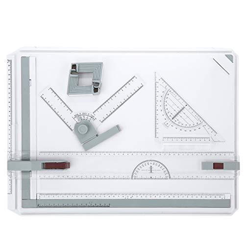 Himimi A3 Tableros de dibujo Mesa de dibujo, herramienta de dibujo multifuncional con regla clara Movimiento paralelo y ángulo de sistema de medición ajustable