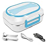 JMCQOO Electric Heating Lunch Box, Portable Electric Bento Box 12V and 110V car and home Dual Use with Removable 304 Stainless Steel Heated Lunch Box/Bento Meal Heater (Blue)