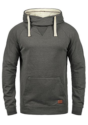 Blend Sales Herren Kapuzenpullover Hoodie Pullover Mit Kapuze Cross-Over-Kragen Und Fleece-Innenseite, Größe:M, Farbe:Pewter Mix (70817)