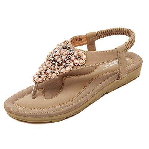 VJGOAL Damen Sandalen, Frauen Mädchen böhmischen Mode Flache beiläufige Sandalen Strand Sommer Flache Schuhe Frau Geschenk (41 EU, T-Khaki)