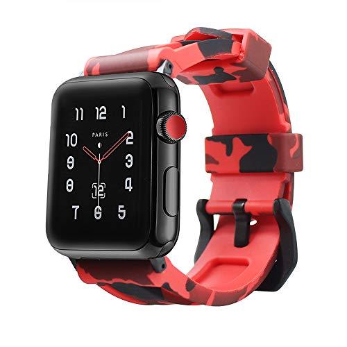 ESTUYOYA - Cinturino in Silicone compatibile Apple Watch Colori Camouflage Militare Regolabile Morbido Sportivo Elegante per 42mm 44mm Series 6 / 5 / 4 / 3 / 2 / 1 / SE / Nike+ - Rosso